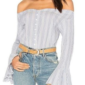 Free People Off The Shoulder Pinstripe top NEW XS
